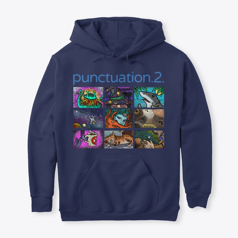 A navy hoodie showing the Punctuation 2 key art, which has a nine-panel Zoom window with various fantastic or science fictional creatures. From left to right, top to bottom: an alien with colourful beard tentacles waving; a magician sitting too close to the camera so you can't see below their pink tinted spectacles, but you can see the entirety of their very colourful hat; a shark holding a martini glass against a tropical horizon with palm trees; a bear in a spacesuit floating near a planet and a moon with an air hose going off-screen; a mermaid with shells in her green hair, obscured by an orange octopus; seven furry Tribble-like creatures with three eyes each squished into the frame; something that looks like a cross between an elephant's trunk and a lizard's tail holding a mug with a red circle with an X in it; an orange cat grooming on a laptop keyboard; and a knight with a moustache who appears to have just put an arrow head through a scaly creature occluding his face in the frame.