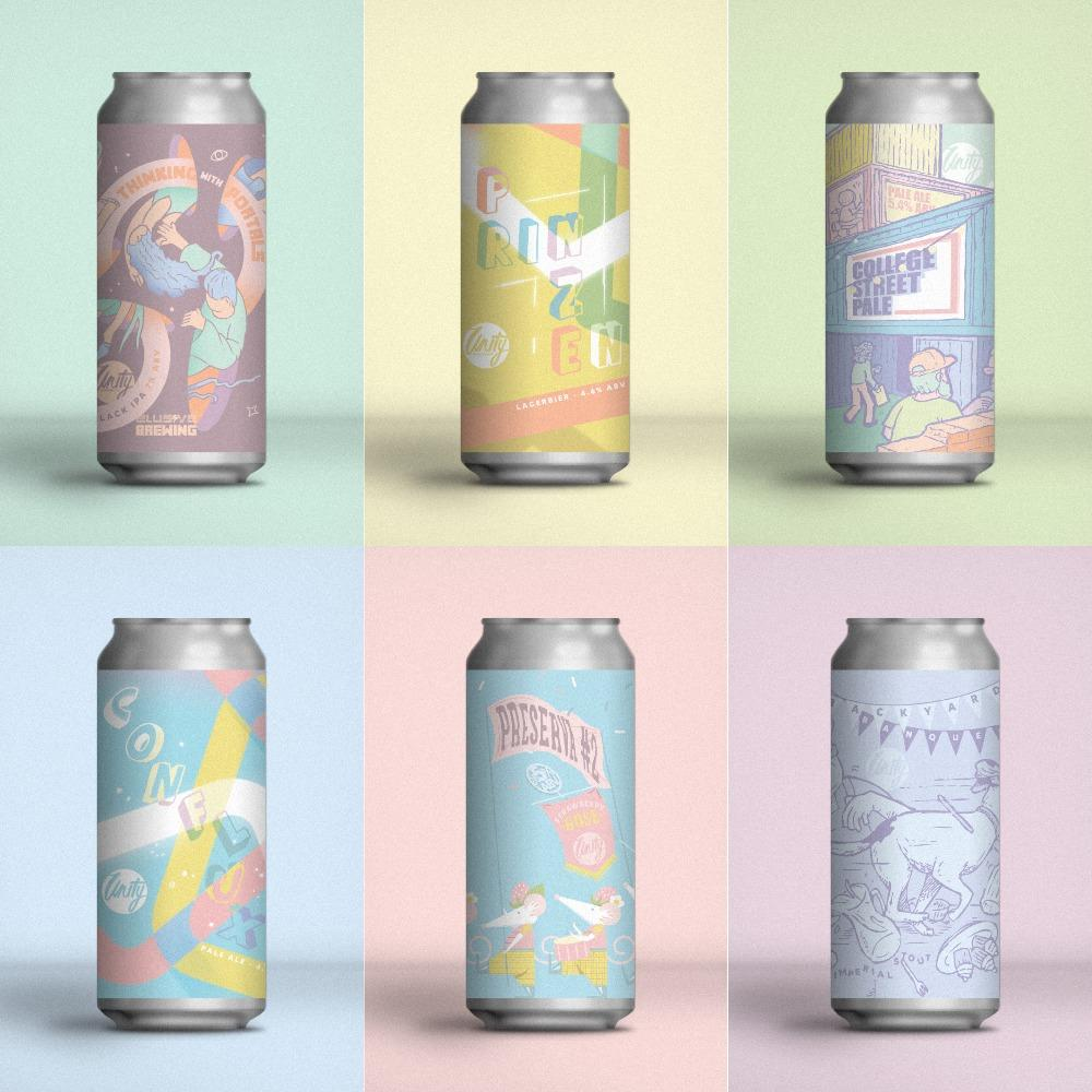 A colourful grid showing the six beers we're organising for Punctuation 2: Thinking with Portals (a collab with Elusive), Prinzen, College Street Pale, Conflux, Preserva #2, and Backyard Banquet.