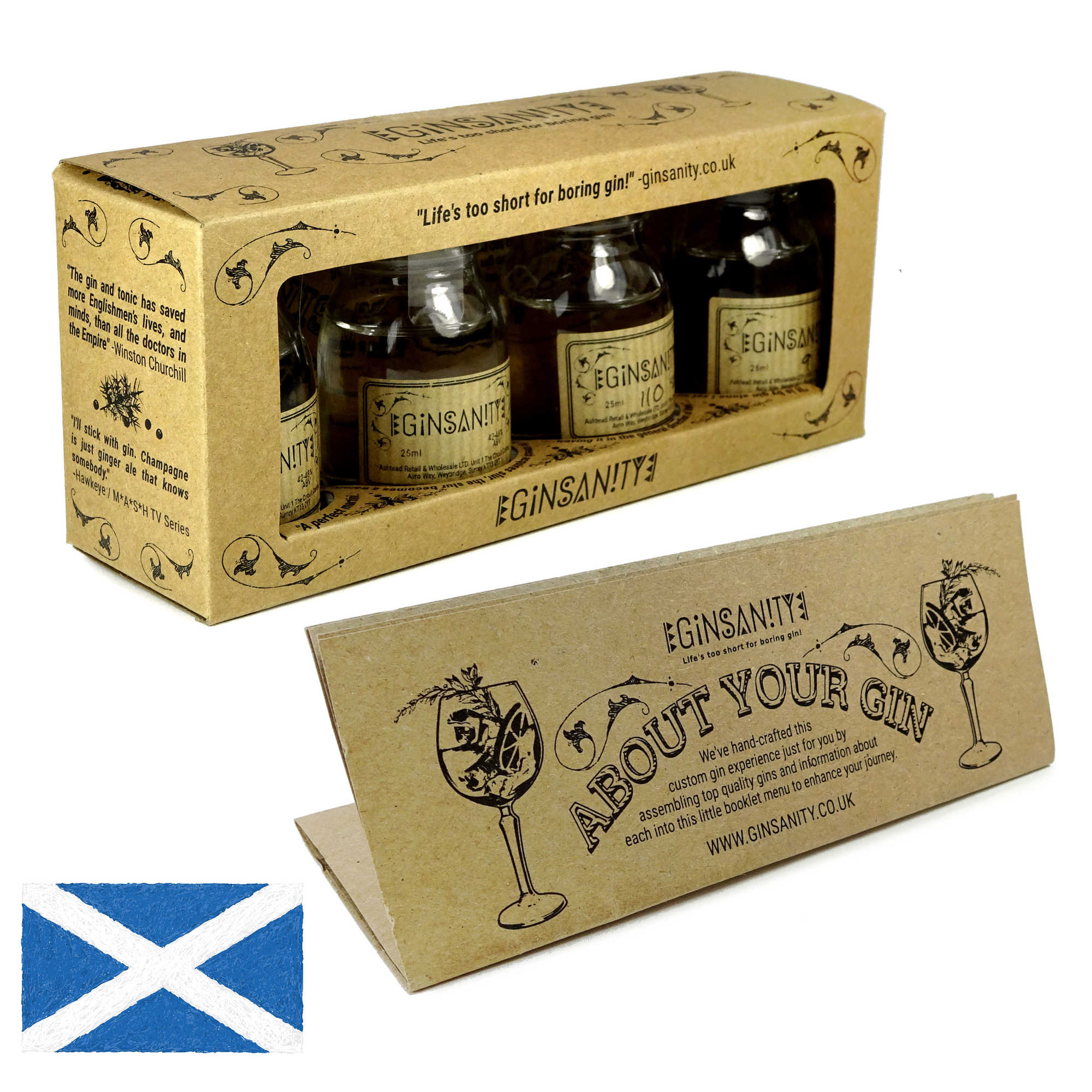 """A box of four taster gins plus an """"about your gin"""" leaflet and a Scottish flag in the lower-left corner."""